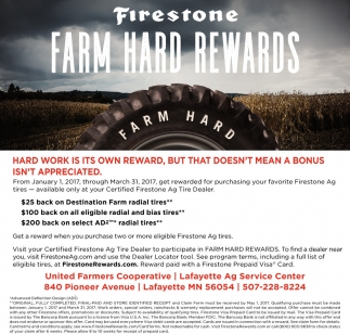 Firestone Farm Hard Rewards, United Farmers Cooperative, Winthrop, MN