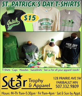 St. Patrick's Day T-Shirts, Star Trophy and Apparel, Faribault, MN