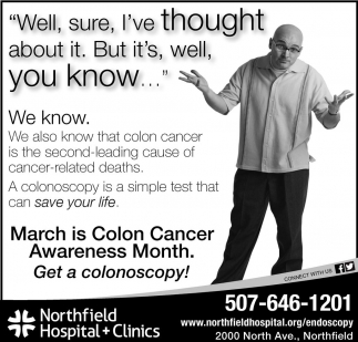March is Colon Cancer, Northfield Hospital and Clinics, Northfield, MN