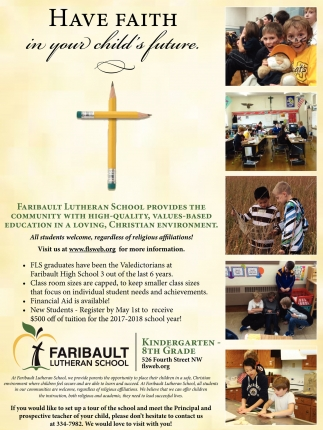 Have Faith in your child's future, Faribault Lutheran School, Faribault, MN