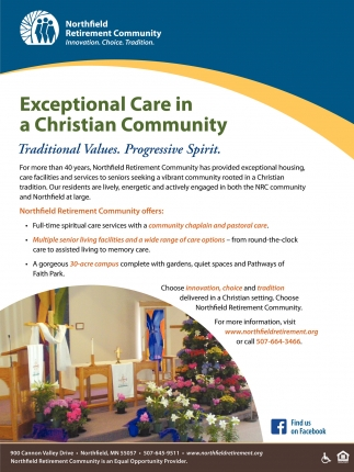 Exceptional Care in a Christian Community, Northfield Retirement Community, Northfield, MN