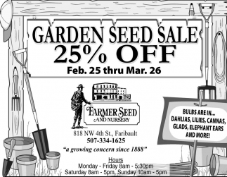 Garden Seed Sale 25% off
