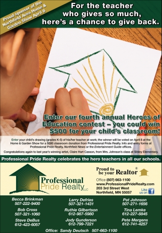 Enter our tourtg annual Heroes of Education contest - you could win $500 for your child's classroom!