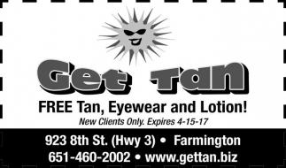 Free Tan, Eyewear and Lotion