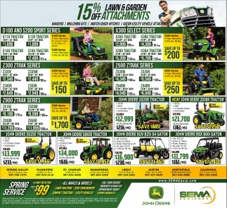 15% off Lawn & Garden Attachments
