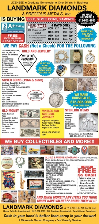 Free Evaluation & Cash offer!, Landmark Diamonds and Precious Metals, Minneapolis, MN