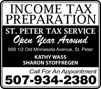 Income Tax Preparation, St. Peter Tax Service, Saint Peter, MN
