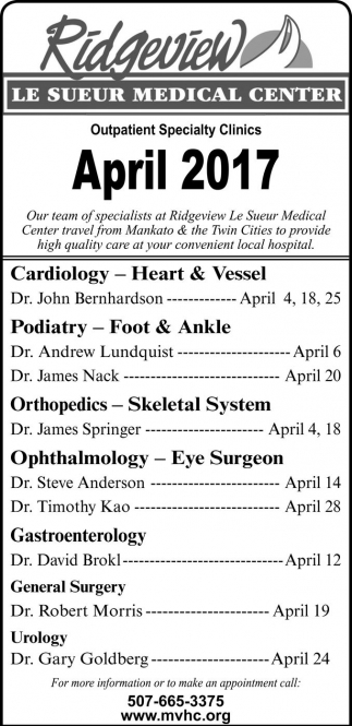 Outpatient Specialty Clinics April 2017