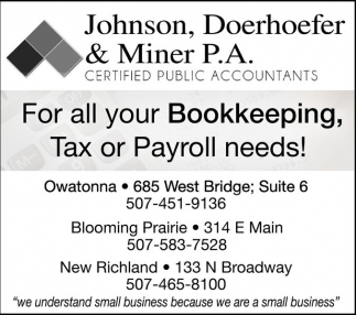 For all your Bookkeeping, Tax or Payroll needs!, Johnson, Doerhoefer and Miner, New Richland, MN