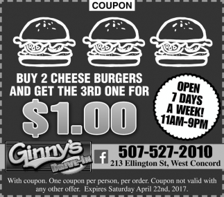 Buy 2 cheese burgers and get the 3rd one for $1.00