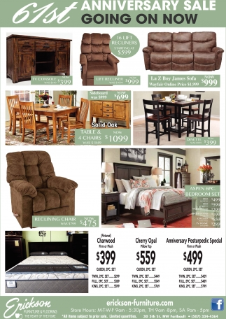 furniture sale ads. 61st Anniversary Sale Going On Now, Erickson Furniture And Flooring, Faribault, MN Ads T