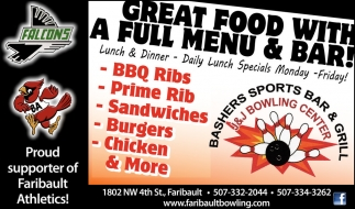 Great Food With a Full Menu & Bar!, J and J Bowling Center, Faribault, MN