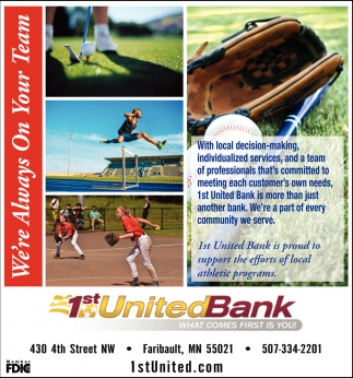 1st United Bankj is proud to support the efforts of local athletic programs