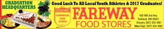 Good Luck To All Local Youth Athletes & 2017 Graduates!, Fareway Food Stores, Faribault, MN