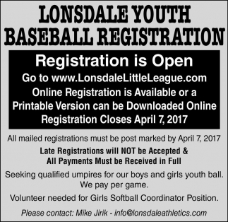 Lonsdale Youth Baseball Registration