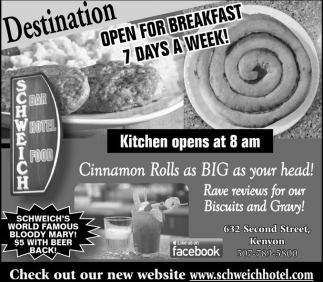 Open for breakfast 7 days a week!