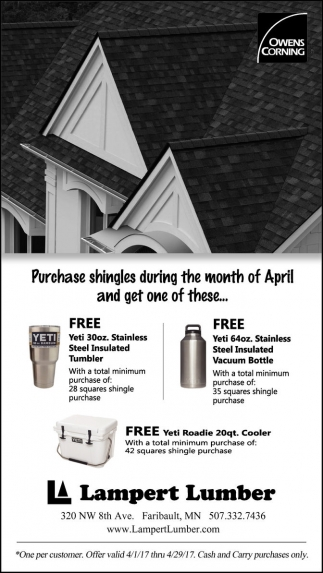 Purchase shingles during the month of April and get one of these...