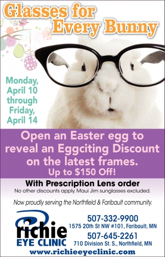 Glasses for Every Bunny, Richie Eye Clinic, Faribault, MN