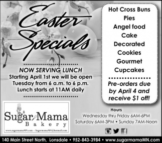 Easter Specials, Sugar Mama Bakery, Lonsdale, MN