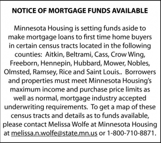 Notice of Mortgage Funds Available, Minnesota Housing