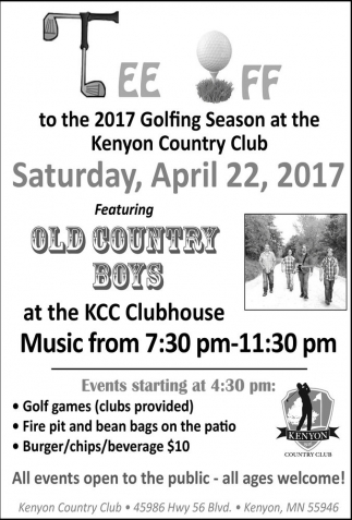 Tee Off to the 2017 Golfing Season at the Kenyon Country Club