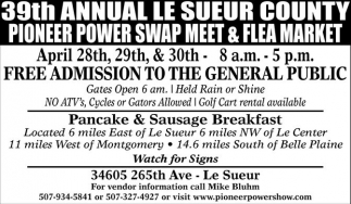 39th Annual Le Sueur County Pioneer Power Swap Meet & Flea Market