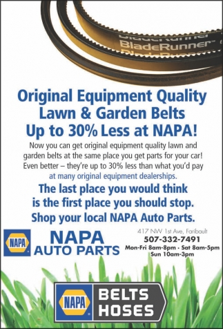Original Equipment Quality Lawn & Garden Belts Up to 30% Less at NAPA!