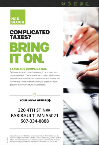 Faribault: Complicated Taxes? Bring it on