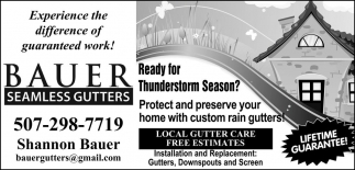 Local Gutter Care - Free Estimates, Bauer Seamless Gutters, Faribault, MN