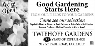 Ads For Twiehoff Gardens in Southern Minn