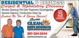 Carpet and Upholstery Cleaning, Smith's Clean Reflections, Faribault, MN