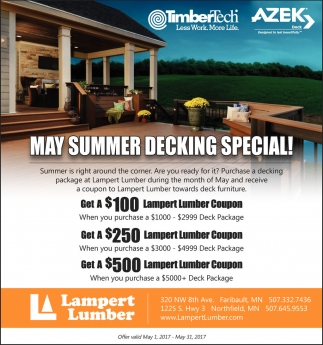 May Summer Decking Special!, Lampert Lumber, Faribault, MN