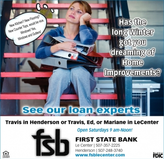See our loan experts, First State Bank, Henderson, MN