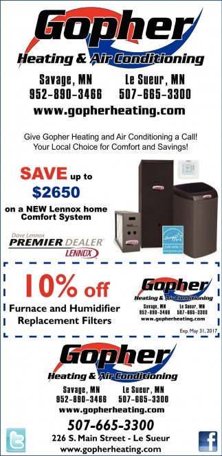 10% off Furnace and Humidifier Replacement Filters, Gopher Heating and Air Conditioning, Le Sueur, MN