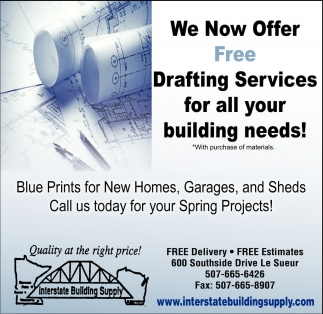Blue Prints for New Homes, Garages, and Sheds, Interstate Building Supply - Le Sueur, Le Sueur, MN