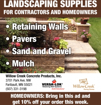 willow creek concrete products, inc - faribault | ladscaping