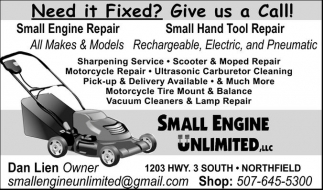 Need it Fixed? Give us a Call!, Small Engine Unlimited, Northfield, MN