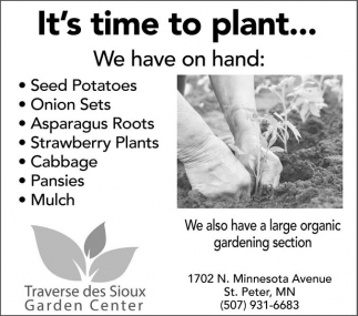 Seed Potatoes Onion Sers Asparagus Roots Strawberry Plants Cabbage Pansies Mulch Traverse Des Sioux Garden Center