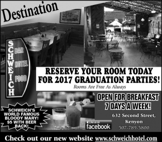 Reserve Your Room Today for 2017 Graduation Parties!