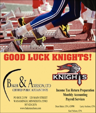 Good Luck Knights!, Baker and Axelson, Wanamingo, MN