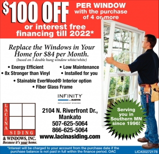 $100 off per window with the purchase of 4 or more, Lacina Siding and Windows Inc, Mankato, MN