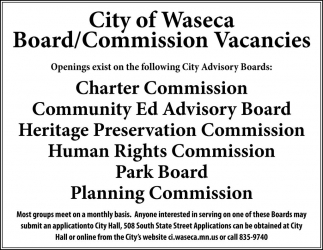Board/Commission, City Of Waseca, Waseca, MN