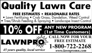 Quality Lawn Care - 10% off any new program, LAWNPRO, Mapleton, MN