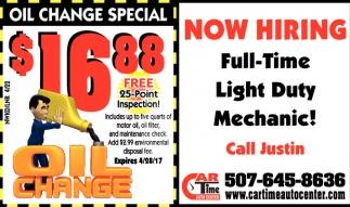 Full Time Light Duty Mechanic!