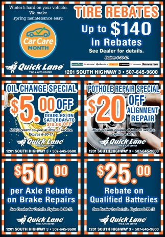 Tire Rebates Up to $140 in rebates