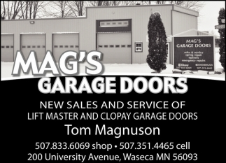 New Sales and Service of Lift Master and Clopay Garage Doors, Mag's Garage Doors