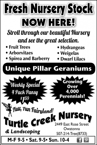 Fresh nursery stock now here!