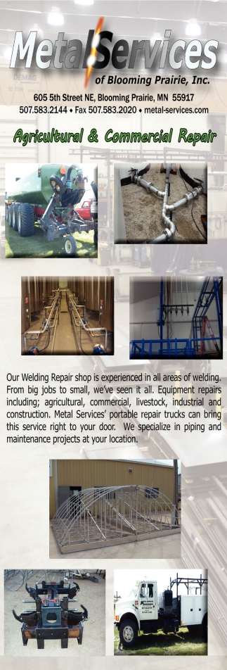 Agricultural Commercial Repair Metal Services Of Blooming Prairie Wiring Jobs Mn