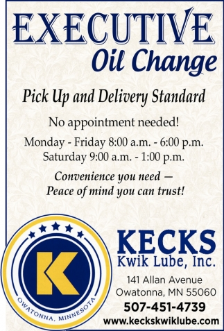 Executive oil change, Kecks Kwik Lube, Inc, Owatonna, MN