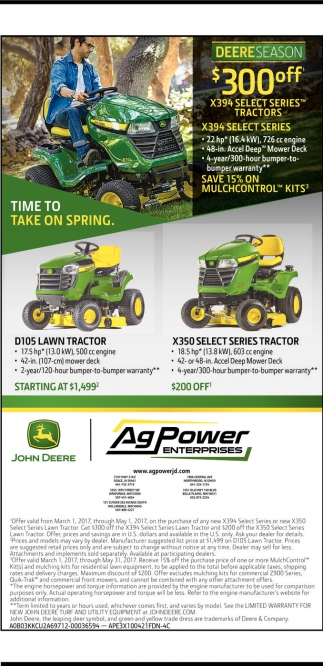 Deere Season $300 off X394 select series tractors